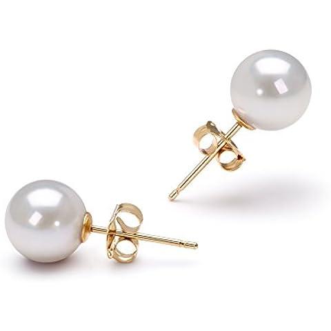 PearlsOnly - Blanco 6.5-7mm Calidad AAA Pendientes de Perlas Akoya Japonesa