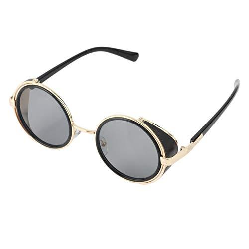 Tellaboull for Sonnenbrille Radsport Runde Brille Cyber Fahrradbrille Vintage Retro Blinder ABS Rahmen Kunststoff und Metalllegierung