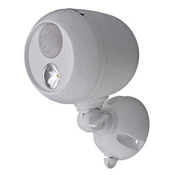 Mr. Beams MB330 Wireless Weatherproof Battery Operated 140 Lumens LED Spotlight with Motion Sensor and Photocell, White