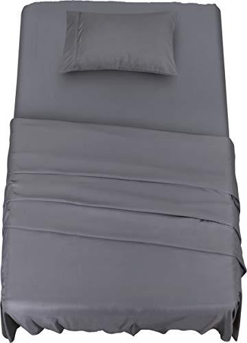 Utopia bedding - set lenzuola letto - spazzolata microfibra - lenzuola e 1 federa - per la letto 90 x 190 cm (grigio, singolo)