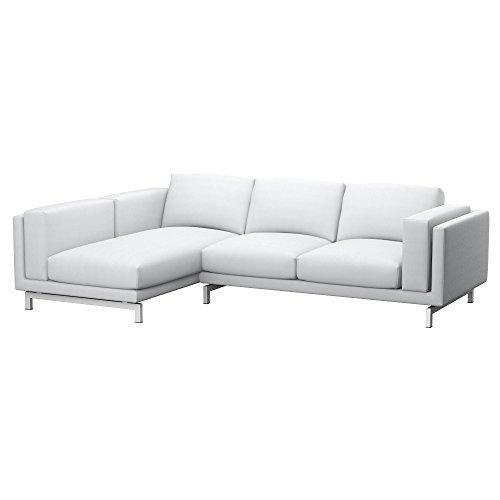 Soferia Fodera Extra Ikea NOCKEBY Divano 2 posti con Chaise-Longue  Sinistro, Tessuto Elegance White