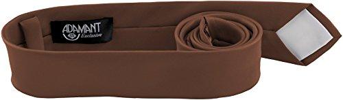 ADAMANT® Nougat Designer Krawatte 5cm schmal - TOPQUALITÄT - Moderne Nougat Braune Krawatte / Schlips für Business und Alltag - Nougat / Braun uni (Braune Designer-anzug)