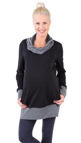 Pullover 2 en 1 pour maternité, sweat-shirt, pull pour allaitement, modèle : NELLA Noir