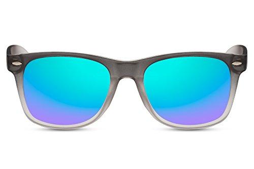 Cheapass Sonnenbrille Wayfarer Grau Verspiegelt Grün Blau Verlaufrahmen Nerd-Brille UV-400 Damen...