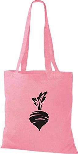 T-shirt Di Cotone Tinta Unita Borsa Di Stoffa Tua Frutta E Verdura Preferita Rape Ravanello Colore Rosa Rosa