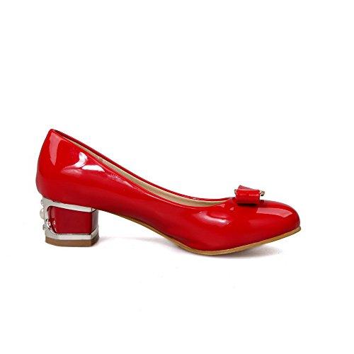 Damen Lackleder Rund Zehe Niedriger Absatz Ziehen auf Rein Pumps Schuhe, Weiß, 39 AllhqFashion