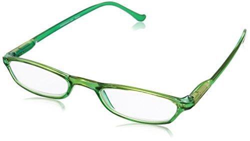 Peepers Slim Line Rectangular Reading Glasses,Green,+1.75