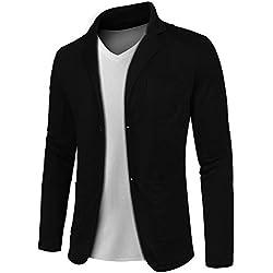 MAXMODA Blazer de Algodón Slim Fit para Hombre Chaqueta Estilo Casual Abrigo con Dos Botones Negro L