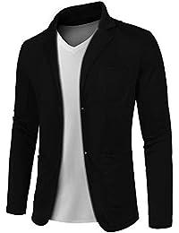 MAXMODA Herren Slim Fit Sakko V-Ausschnitt Anzugjacken Zwei-knopf Blazer mit Vordertasche