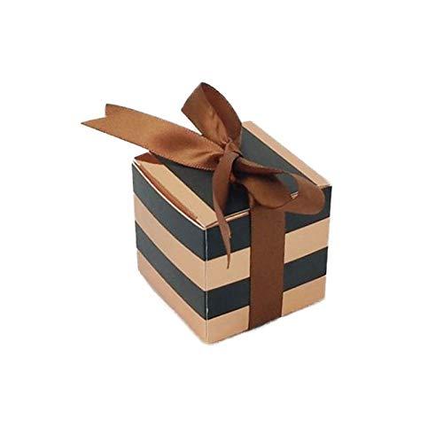 Neue Ankunft 10pcs Luxushochzeits-Papierkasten Gold & amp;Schwarz gestreifte Cookie Box Candy Geschenkverpackung Box für Gäste Event Party Decor (Und Gold Candy Schwarz)
