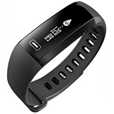 Wallner intelligente braccialetto di vigilanza Banda Blood Pressure Monitor frequenza cardiaca Contapassi fitness intelligente Wristband(Oro) (Nero)