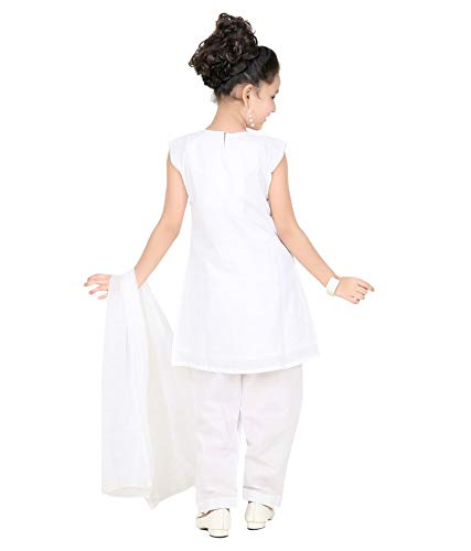 Baba & Baby Girl's White Cotton Salwar Suit Set of 3 (2-3 Years, White)