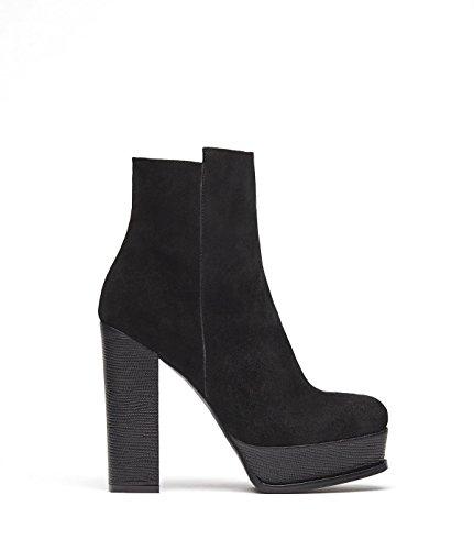 PoiLei Tara - Damen-Schuhe/Exklusive Plateau-Stiefelette Aus Echt-Leder - Ankle-Boot mit High-Heel Block-Absatz und Schöner Ziernaht - Schwarz (Boots Leder Echt Ankle)