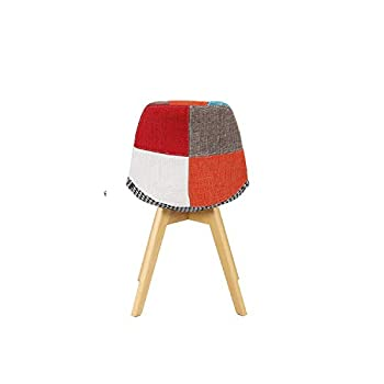 GroBKau Set of 4 Tulip Dining Chairs Patchwork Chair Linen Fabric Living Room Chairs Reception Chairs with Backrest Soft Cushion (4pcs)