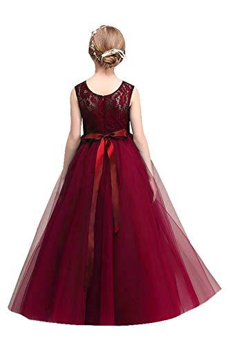 MisShow Mädchen Prinzessin Tüll Blumenmädchen Kleid mit Blumenstickerei Weinrot Gr.170