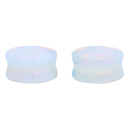 Generic 1 Par Expansor Carne Enchufe Joyería Para Oído Cuerpo Redondo Camilla Hematita Túnel de Calibre 20mm Blanco Opal