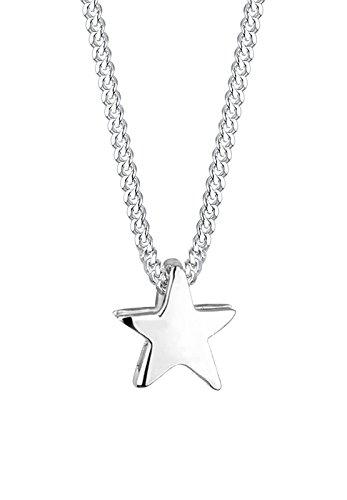 Elli Damen Halskette mit Basic Stern Anhänger Filigran in 925 Sterling Silber 45 cm lang