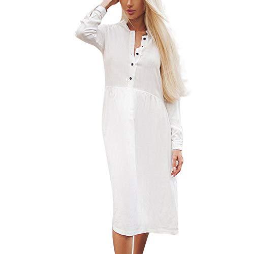 Xmiral Damen Kleid Polyester Casual Button England Solid Rock Langarm Höhe Taille Stehkragen Shirt Kleid (S,Weiß)