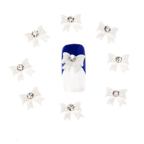 Striper Glitter (40 3D Strass Schleifen Maniküre Nail Art Edelsteine Dekorationen Weiß von Cheeky®)