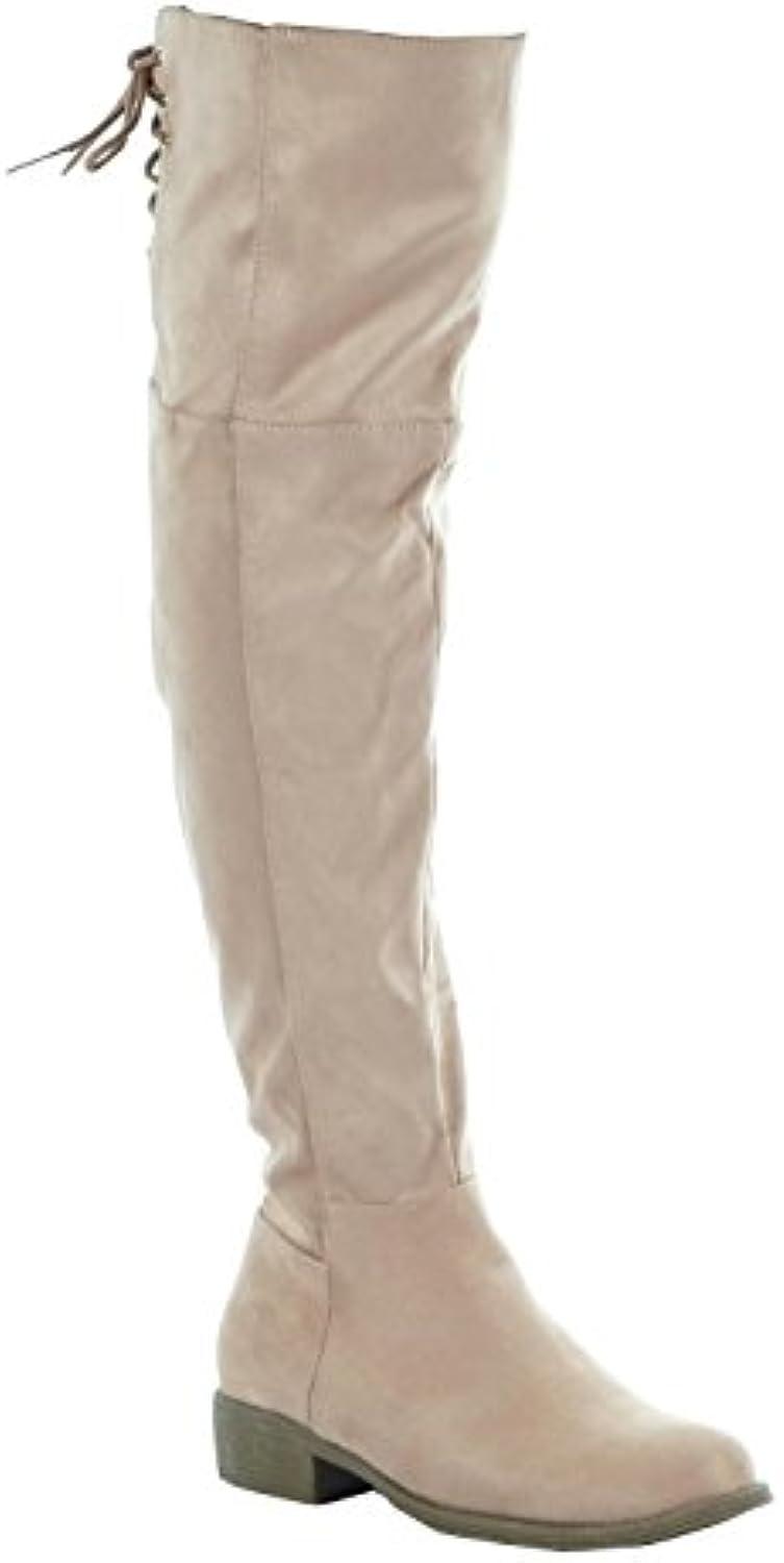 Angkorly - Zapatillas de Moda Botas Altas flexible mujer encaje dorado Talón Tacón ancho 3 CM - plantilla Forrada...