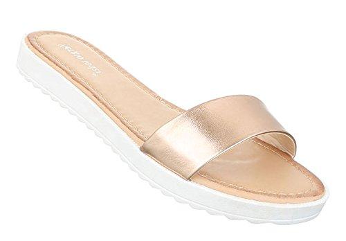 Damen Sandalen Schuhe Strandschuhe Sommerschuhe Pantoletten Gold