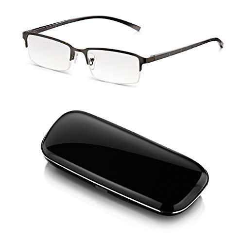 Read Optics Herren Lesebrille mit Etui 3,5: Moderne graue Halbrand-Brille mit Federscharnier und Hardcase. Entspiegelte, kratzfeste DifuzerTM Gläser mit UV Schutz in den Stärken +1,0 bis +3,5 Dioptrien