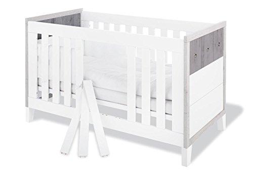 Pinolino 110021 Modernes Kinderbett mit 3 Schlupfsprossen, aus MDF, Umbauseiten Enthalten, 140 X 70 cm, eiche grau/esche grau/uni weiß