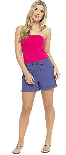 Lora Dora Damen Leinenshorts mit Gummizug in der Taille für Urlaub, Strand, Damen-Hot-Pants, Größe UK 10–18 Gr. 36, Blue - Short Length -