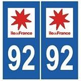 Autocollant plaque immatriculation auto département 92 Hauts de Seine