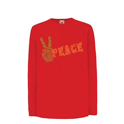 Kinder-T-Shirt mit Langen Ärmeln Blumen Friedenssymbol, 60s 70s Hippie-Festival, Friedenszeichen, Hipster Swag (9-11 Years Rot Mehrfarben) -