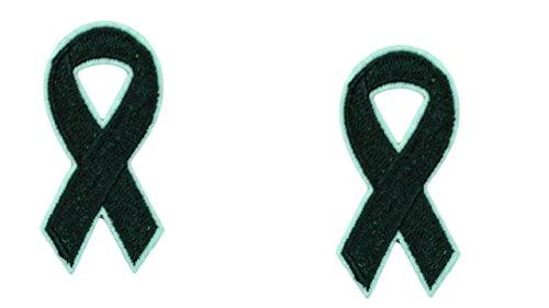 2-teilig schwarz Band Eisen auf Patch Aufnäher Bewusstsein Honor Remembrance Memory Schleife Motiv Symbol Aufkleber 5,1x 2,5cm (5x 2,5cm)