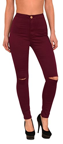 by-tex Damen Jeans Hose Risse am Knie High Waist Damen Jeanshose Skinny in vielen Farben bis Übergröße J184