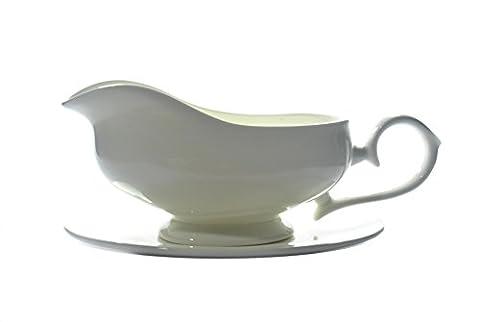 Bone china WHITE GRAVY BOAT AND