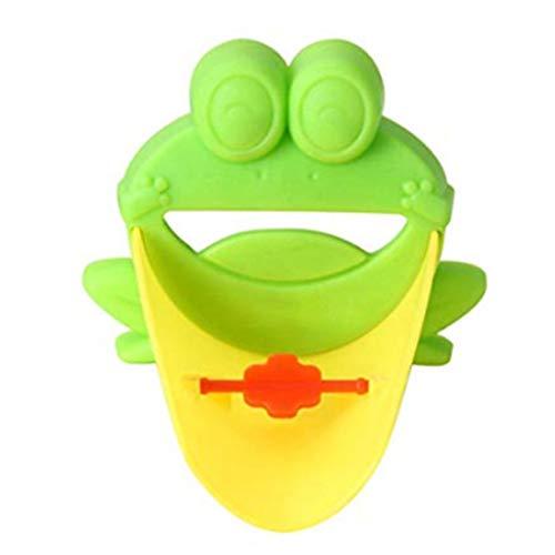 Isuper 8 × 11 cm in Form von Frosch Wasserhahn für die Spüle mit Umsteller Verlängerung den Griff für Badewanne Animals Düse Verlängerung für Babys, Kleinkinder, Kinder-Green (Kinder Badewanne Griff)