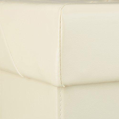 Relaxdays–plegable asiento Banco, caja para almacenaje, taburete, piel sintética, beige, 38 x 78 x 38 cm