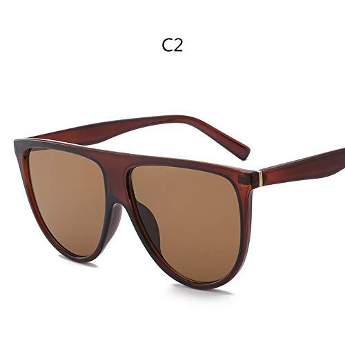 ZHOUYF Sonnenbrille Fahrerbrille Kim Kardashian Sonnenbrillen Vintage Retro Flache Oberseite Thin Shadow Sonnenbrille Quadrat Pilot Luxus Designer Große Schwarze Sonnenbrille, B
