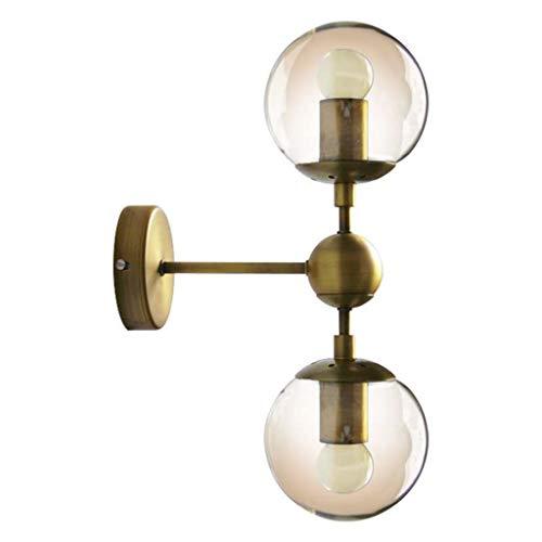 #Spiegelscheinwerfer Spiegelfrontleuchte - Wandleuchte Einfache Nordic Kreative Nachttischstudie Spiegelfrontleuchte Retro Schmiedeeisen Glas Ball Wandleuchte LED