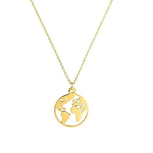 Gkmamrg - Collar con Colgante de Mapa del Mundo para Mujer, bañado en Oro de 18 K, Cadena Ajustable de 50 cm