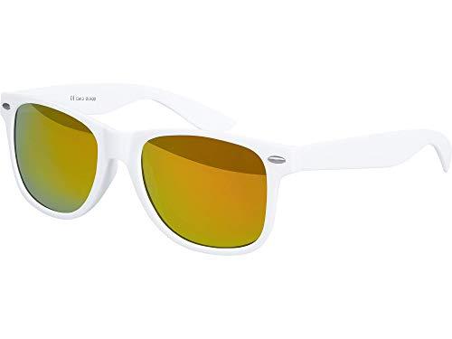 Balinco Hochwertige Nerd Sonnenbrille Rubber im Wayfarer Stil Retro Vintage Unisex Brille mit Federscharnier - 96 verschiedene Farben/Modelle wählbar (Weiß - Rot/Orange verspiegelt)