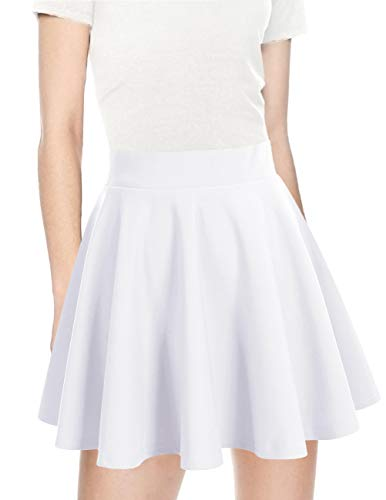 bridesmay Damen Mini Rock Basic Solid vielseitige Dehnbaren informell Minikleid Retro Sexy Rock Faltenrock White L
