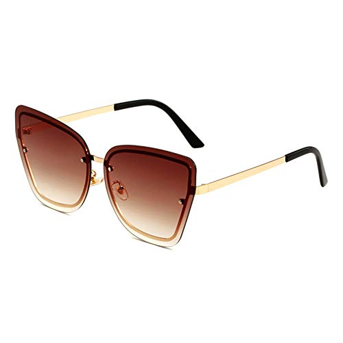 HQMGLASSES Women's Tone Frameless Sonnenbrille Gold Frame Cat Eye Oversized Designer Sun Brillen UV 400 Protected Driving Vacation Glasses,GoldFrame/GradientBrown
