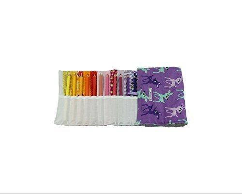"""Stifterolle """"Rehkitze lila"""" für 24 Bunt- oder Filzstifte mit regenbogenbunten Fächern von Almfee"""