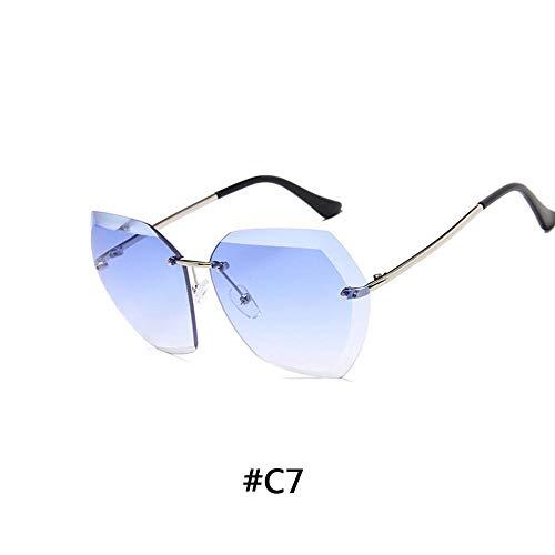 Luxus Vintage Randlose Sonnenbrille Damen Markendesigner Übergroße Sonnenbrille Weibliche Sonnenbrille For Damen Mirror Shades UV400 (Lenses Color : 7)
