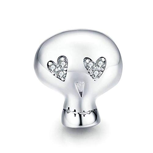 ANLW 925 Sterling Silber Schmuck Schädel-Charme Passte Pandora Charm Bracelets Frau Vollkommenes Geschenk für Halloween, Kasten-Paket