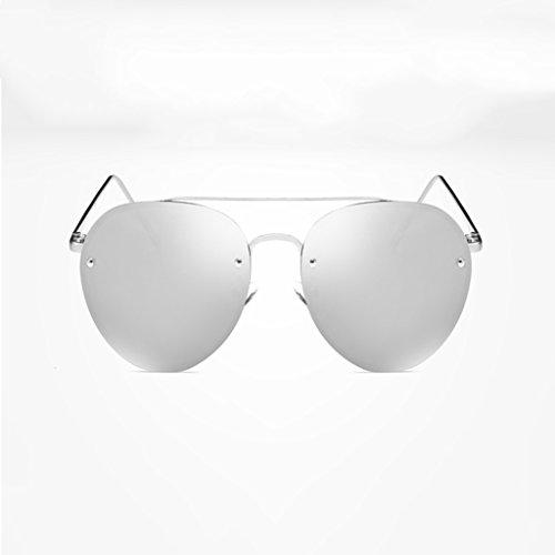 NUBAO Sonnenbrille Frauen Flut Persönlichkeit Polarisierte Gläser Sonnenbrille Frauen Spiegel Im Freien Reisen Tourismus Sonnenbrillen (Farbe : Silber)