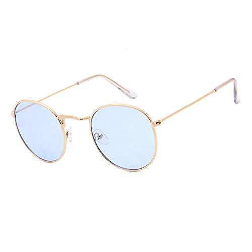 AmDxD Unisex Polarisiert Sonnenbrille | Linse aus AC | Rund Rahmen Vollrand UV400 Schutz Retro Brille | Für Outdoor-Aktivitäten, Farradfahren - Gold Hell Blau