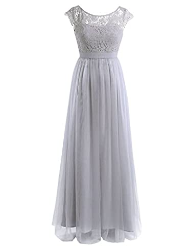 Freebily Womens Ladies Lace Wedding Bridesmaid Evening Prom Ball Gown Tulle Maxi Long Dress Gray UK Size 10