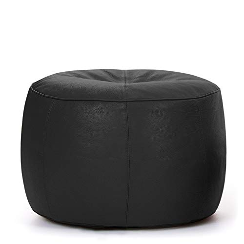 Bean Bag Bazaar Luxus-Designer Icon Fußhocker, Leather-p, Leder, schwarz, 40x40x45 cm