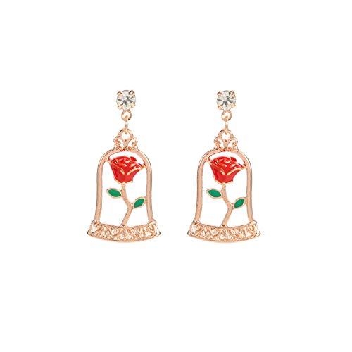 ASWEFV Rose Ohrringe Ohrringe Rot Weibliche Modelle Sterling Silber Temperament Rot Ohr Durchbohrte Ohrringe Weiblich Valentinstag Schmerzlos Ohrclip Silber Nadel Paar