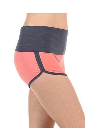 Athletische Betrieb Übung mit hohen Taille Gym Yoga Foldover Booty Dolphin Hose für Frauen hoch taillierte Corl / Gry L (Bootie Hohe)